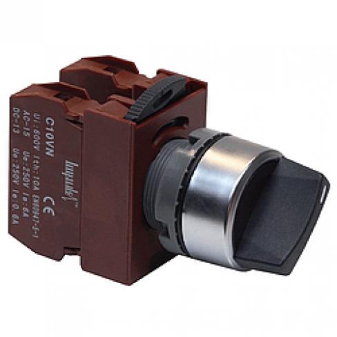 Переключатель с короткой рукояткой C2SNS-F3 BK 2A 3-х позиционный, 2 гр. контактов Н.О.