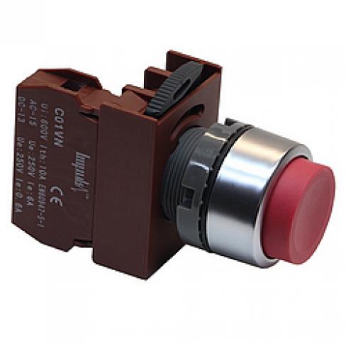 Кнопка выступающая красная без фиксации C2PNH R 1B, 1 Н.З.