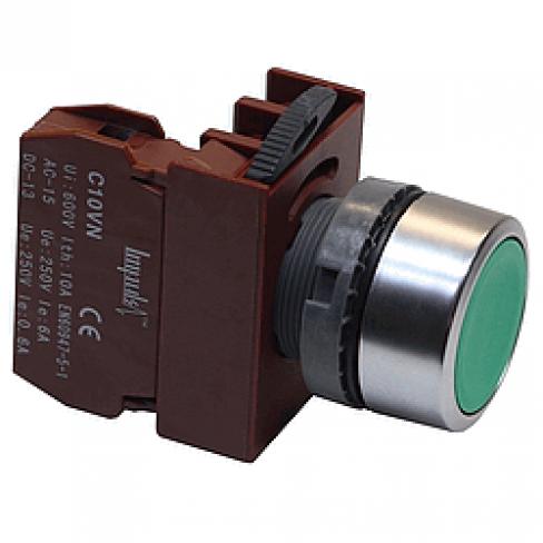 Кнопка потай зеленая без фиксации C2PNF G 1A, 1 Н.О.