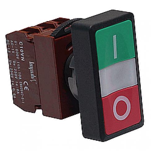 Кнопка двойная с подсветкой C2PID 1A+1B 220V без фиксации, 1 Н.О.+1 Н.З.