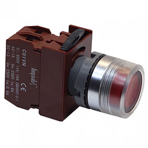 Кнопка выступающая красная с подсветкой C2PIF R 1B 220V без фиксации, 1 Н.З.
