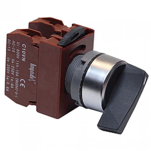Переключатель с длинной рукояткой C2SNL-F3 BK 2A 3-х позиционный, 2 гр. контактов Н.О.