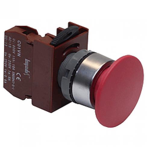 """Кнопка """"грибок"""" C2PNR4 R 1B с фиксацией красная, d=40мм, 1 Н.З."""