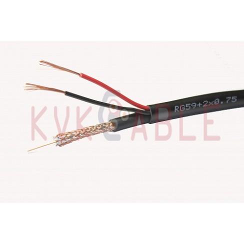 КВК(RG 59+2x0,75) плоский черный кабель
