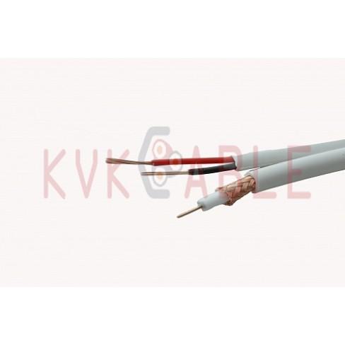 КВК(RG 59+2x0,75) плоский белый кабель