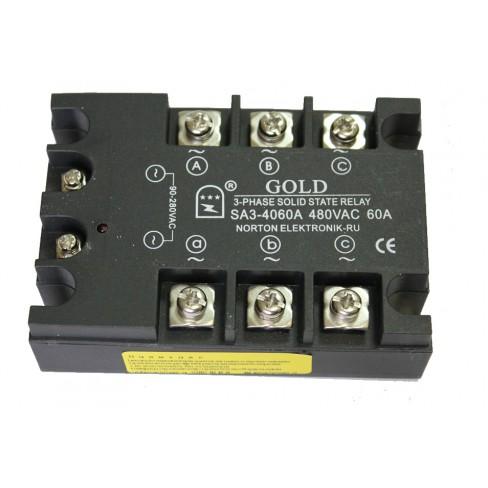 Твердотельное реле SA3-4060A (60A, 480V AC, 80...280V AC)