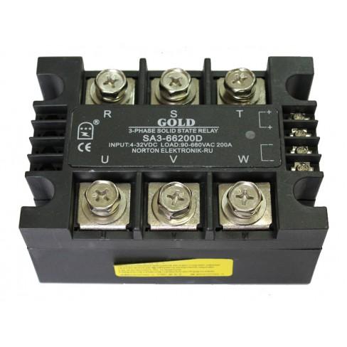 Твердотельное реле SA3-66200D (200A, 660V AC, 3...32V DC)