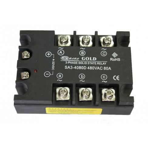Твердотельное реле SA3-4080D (80A, 480V AC, 3...32V DC)