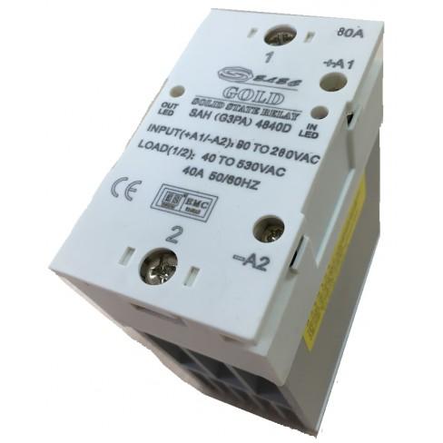 Твердотельное реле SAH-4880A (80A, 530V AC, 80...280V AC) с радиатором