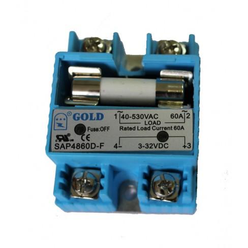 Твердотельное реле SAP-F-4860D (60A, 530V AC, 3...32V DC) со встроенным предохранителем