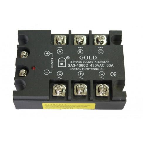 Твердотельное реле SA3-4060D (60A, 480V AC, 3...32V DC)