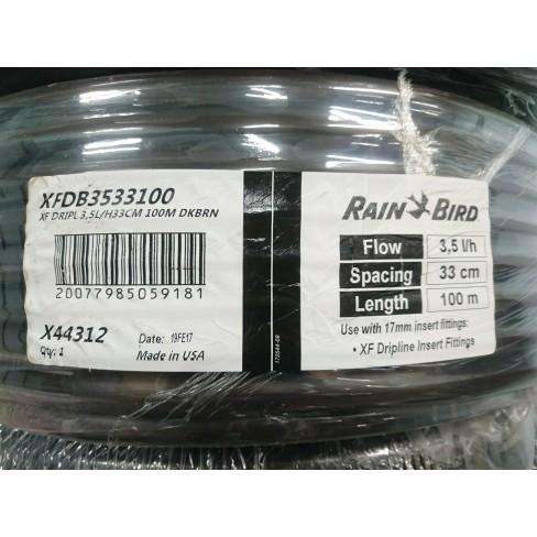 Капельный шланг Rain Bird Dripline XFDB3533100 с комп. капельницами через 33 см, 3.5 л/час, бухта 100 м